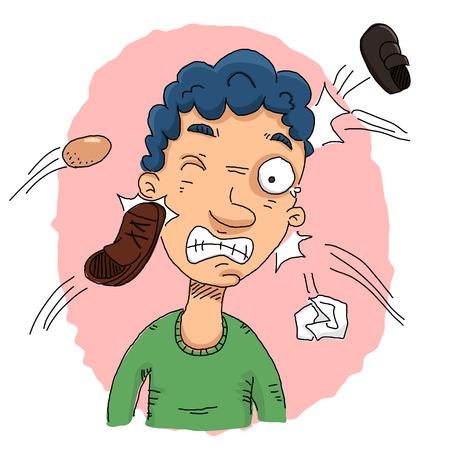 cartoon man with shoe being thrown at him.