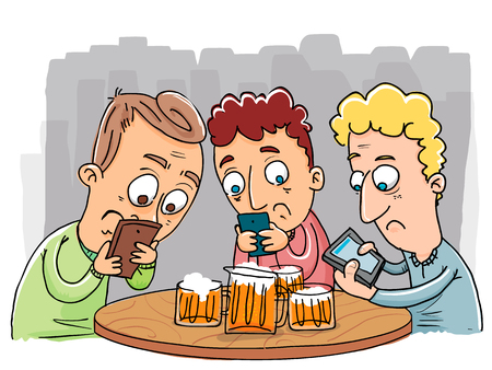 cartoon group of people with smart phones.  イラスト・ベクター素材