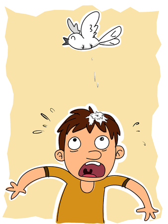 cartoon man got bird poop on head. Stock Illustratie