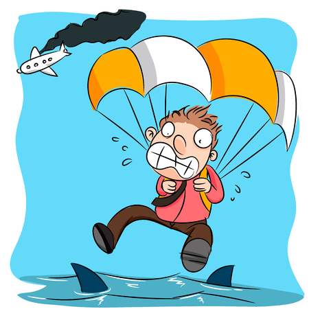 cartoon hapless man parachute from burning plane to the ocean with shark.
