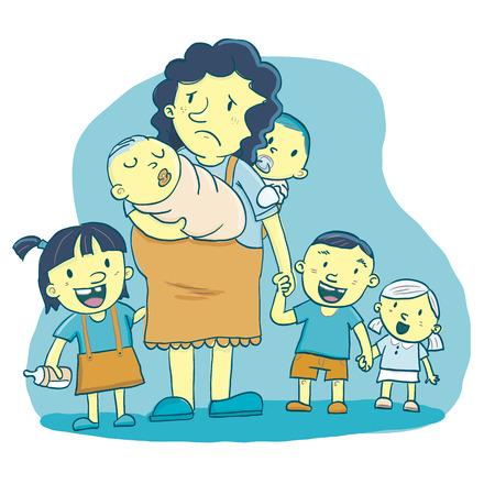 あまりにも多くの子供たちの母は漫画。  イラスト・ベクター素材
