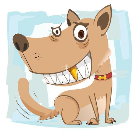 cartoon richmans dog smiling showing gold teeth.