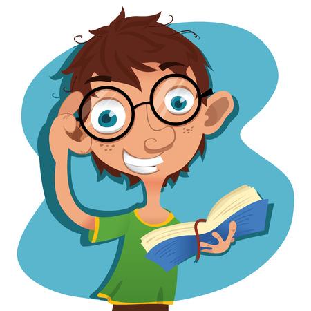 cartoon young smile reader.