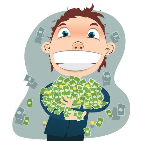 cartoon businessman holding a lot of money.