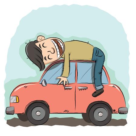 cartoon man hugging his red car.