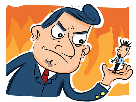 cartoon angry boss and shocked employee in his hand.  イラスト・ベクター素材