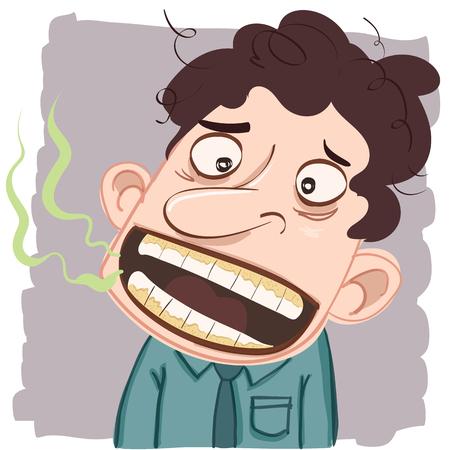 口臭を持つ漫画男。