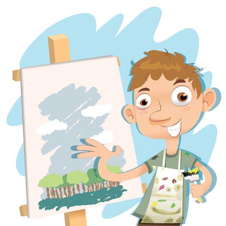 cartoon man showing his painting.