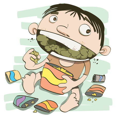 cartoon boy eating too much snack.