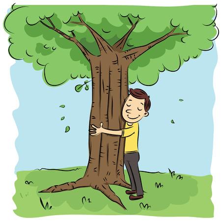 cartoon man hugging tree.  イラスト・ベクター素材