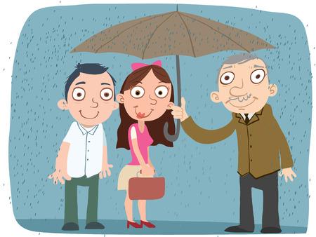 cartoon kindness man share his umbrella for other  イラスト・ベクター素材