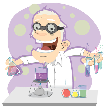 cartoon male scientist making experiments.  イラスト・ベクター素材