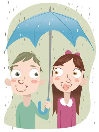 cartoon man holding umbrella for girl.
