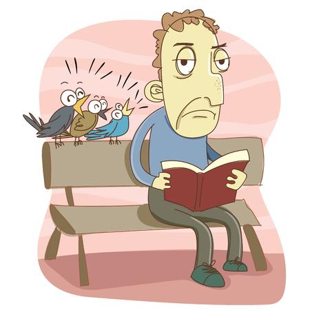 Cartoon bird making noise while reading. Illustration