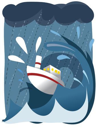 Cartoon ship in rough sea.  イラスト・ベクター素材
