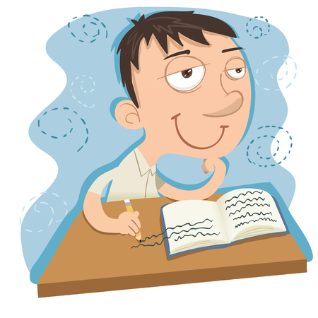 cartoon dreamy schoolboy while writing. Ilustração
