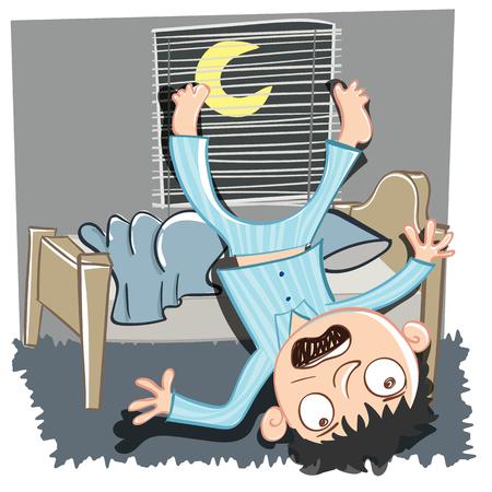 漫画の男がベッドから落下します。