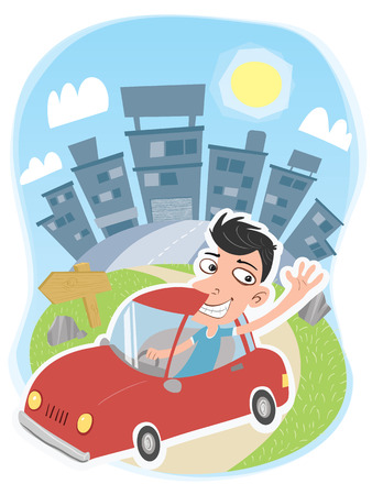 Cartoon man driving a car leaving the city.  イラスト・ベクター素材