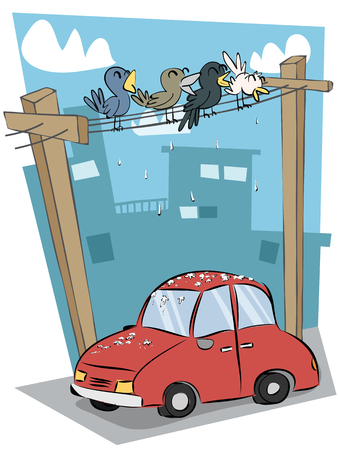 Cartoon bird droppings on car. Illustration