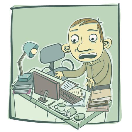 cartoon man with messy desk.