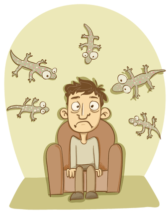 cartoon man sitting at couch with house gecko.