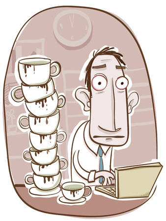 cartoon office worker with too much coffee.