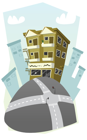 apartment building in cartoon style.