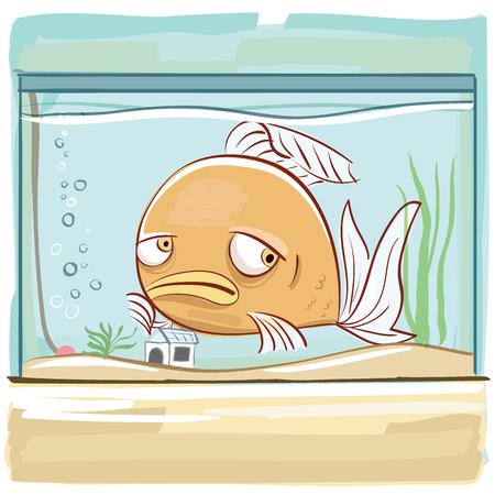 Cartoon bored fish in tank.  イラスト・ベクター素材
