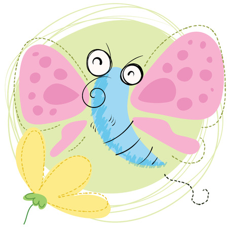 Cartoon smiling butterfly with flower.