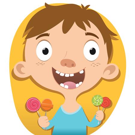 Cartoon smiling boy holding candy.