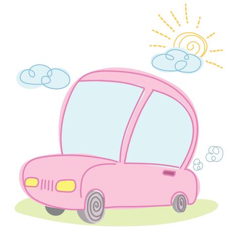 Cartoon car on nice weather day.