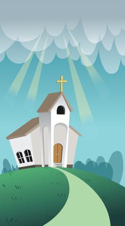 Cartoon style illustration of christian church.  イラスト・ベクター素材