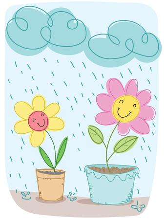 Cartoon flower happy when raining.