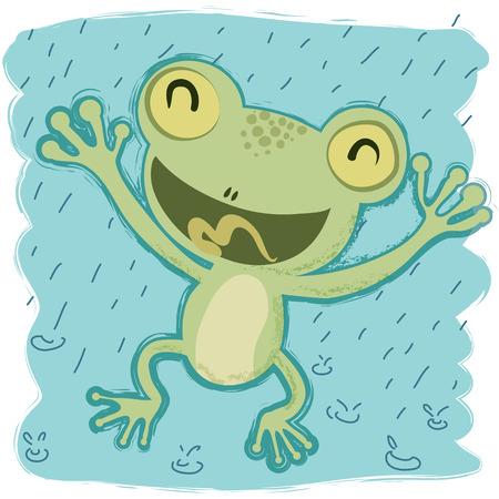 Cartoon frog happy when raining.