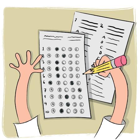 Multiple choice test cartoon illustration.