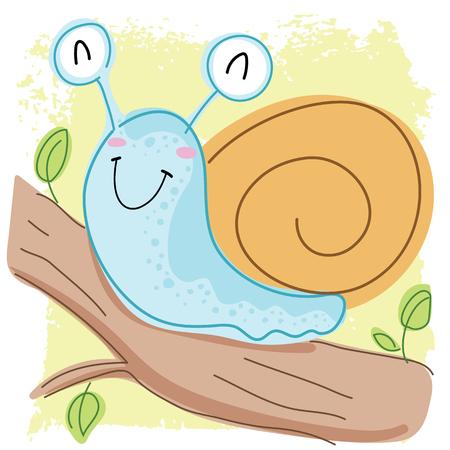 Cartoon cute smiling snail.
