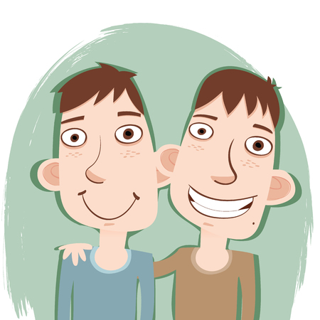 cartoon young smiling twins brothers.