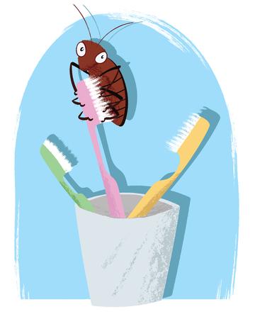 cartoon cockroach on toothbrush