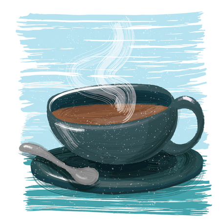 painting style a cup of coffee.