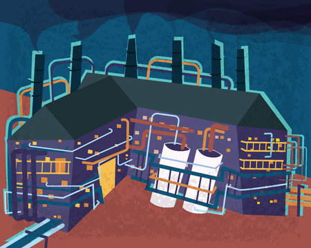 industrial factory illustration in bold color style.