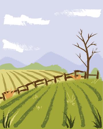 painting style farmer field illustration.