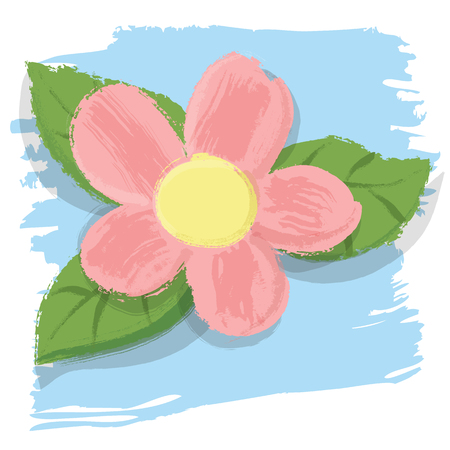 painting style pink flower and leaves.
