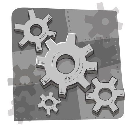 gearwheels: cartoon style gears and cogs