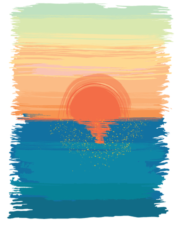 painting style illustration of morning at the sea.