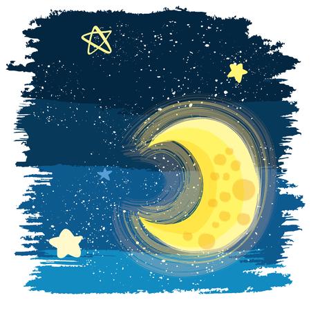 painting style night sky illustration  イラスト・ベクター素材