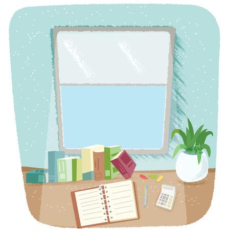 student working desk near a window