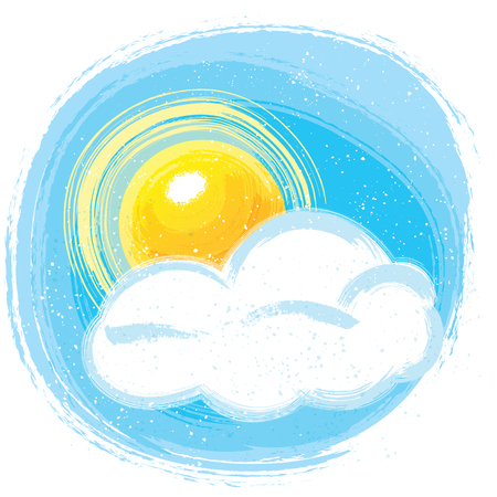 painting style sun and cloud scene