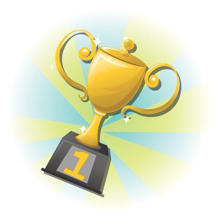 golden trophy vector illustration