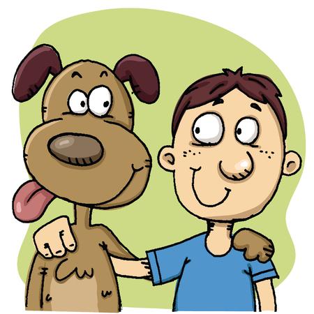 Cartoon man and dog hugging together. Çizim