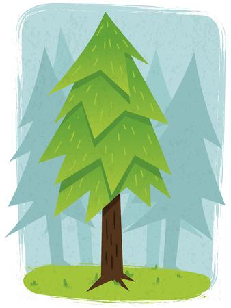 Pine forest vector illustration Ilustração